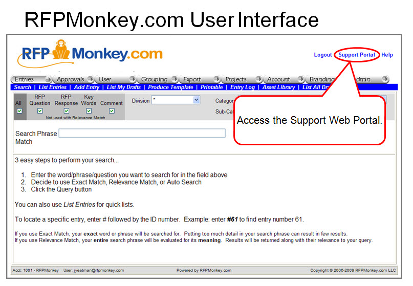 User Interface - Support Portal link