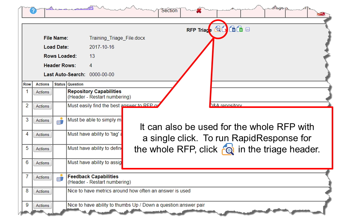 Apply RapidResponse at RFP-level